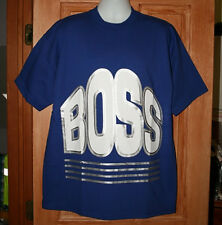 VINTAGE BOSS LOGO HUGE PRINT T-SHIRT XL Made in USA  BIG PRINT