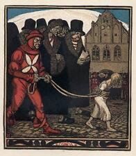 GEFANGEN die UNSCHULD - Rudolf SCHIESTL 1910 FarbZinkätzung des JUGENDSTIL