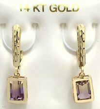 GENUINE 1.12 Cts AMETRINE EARINGS 14k Gold Lever Backs *FREE Shipping Service