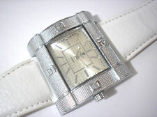 Hip Hop Big Case White Leather Band Men's Watch Item 3209