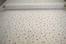 "WHITE WITH PINK DOVES 100% COTTON FLANNEL FABRIC 45""W QUILTING PAJAMAS BTY"