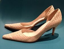 Zara Ivory Beige Faux Snakeskin Real Leather Heels Shoes 39 6