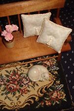 Lot of 2 - Cream Pillows Doll House 1 :12 Scale - Mini Cream Damask 1 1/2 ""