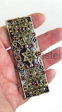 MICHAL GOLAN GOLD BLACK MEZUZAH Garnet Glass Cabochons with Prayer Scroll