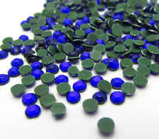 New 800pcs 3MM Loose Round Iron On Hotfix Crystal Rhinestones Dark Blue