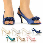 WOMENS LADIES SATIN DIAMANTE WEDDING BRIDESMAID PARTY HEELS SANDALS SHOES