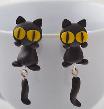 Polymer Clay Pair Black cat cute stud earrings handcrafted drop dangle UK lucky