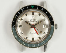 Vintage Zodiac Aerospace GMT Mens Swiss Made Automatic GMT Watch White Dial!