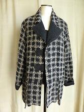 LAUREN VIDAL veste manteau souple laine jacquard  noir gris  40 % laine  T 44