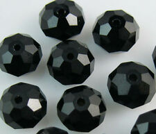 New 30pcs Faceted  Rondelle glass crystal #5040 6x8mm Beads Black colors PE1