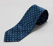Tom Ford Sea Blue White Polka Dot Satin Tie 100% Silk Hand Made in Italy 3.25""