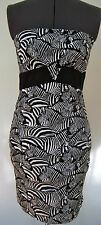 NEW TRINA TURK LADIES DRESS CAROLYN ZEBRA PRINT STRAPLESS BLACK WHITE 2 4 $268