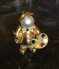VINTAGE FRED PARIS 18k Gold PAINTER ARTIST Brooch Pendant Pearl Sapphire Diamond