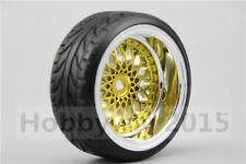 4pcs RC Hard 1/10 Pattern Drift Tires  Y12CG 9mm offset (Chrome+Painting Gold)