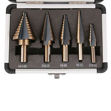 5pcs Hss Cobalt Multiple Hole 50 Sizes Step Drill Bit Hog Set W/ Aluminum Case