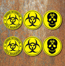 Bio Hazard Warning Zombie Sticker Set Yellow Black biohazard Decals
