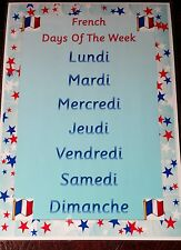 FRENCH DAYS OF THE WEEK - A4 LAMINATED POSTER - DISPLAY CLASS CHILDMINDER