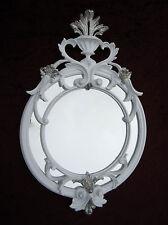 Wandspiegel Rund Antik Weiß Silber 56x36 Badspiegel  Flurspiegel Barock C490