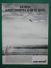 6/1989 PUB COMPAGNIE AERIENNE AIR INTER AIRLINE AIRBUS A320 AIRLINER FRENCH AD