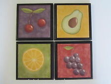 Fruit Wall Decor Plaques Bright Modern Kitchen Signs grapes cherries avacado