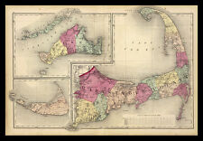 FRAMED 1871 Cape Cod Vintage Map 16x12 Art Print Poster Wall Decor