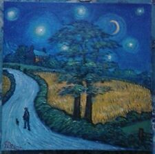 """NORTHERN ARTIST JAMES DOWNIE- STARRY NIGHT.LARGE ORIGINAL 24""""x24"""" OIL PAINTING."""