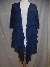 Moth Anthropologie Open Front Cascade Ruffle Cardigan Sweater M Thin Knit Blue