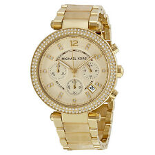 NEW MICHAEL KORS PARKER GOLD TONE,S/STEEL+ACRYLIC HORN BAND,CRYSTAL WATCH-MK5632