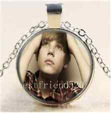 Young Justin Bieber Cabochon Glass Tibet Silver Chain Pendant Necklace