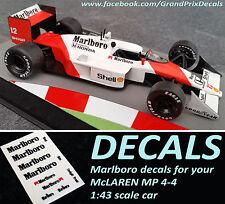F1 Marlboro McLaren 1988 Ayrton Senna Decals for Formula 1 Car Collection MP4/4