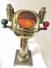 VINTAGE BRASS BINNACLE ENGLAND COMPASS LAMP NAUTICAL GIMBAL 1930 LANTERN SHIP
