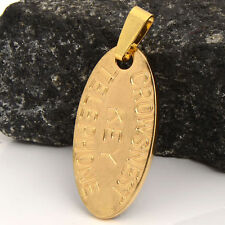 """Yellow Gold Filled Womens Mens """"Titanic Telephone Key"""" Oval Pendant For Necklace"""