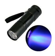 UV Ultra Violet 9 LED Flashlight Blacklight Light 365 nM Inspection Lamp Torch