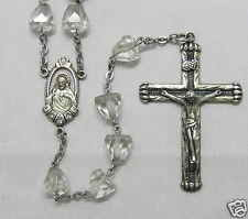 "† ANTIQUE STERLING & RHINESTONES & CUT ROCK CRYSTAL CONED ROSARY 24"" 65.14 GRS †"