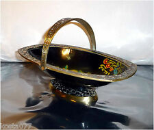 Vintage Ornate Brass Enamel Fruit Basket Bowl, Made in Israel