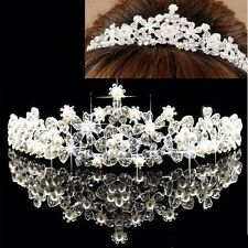 New Bridal Flower Prom Wedding Pageant Veil Rhinestone Crystal Pearl Crown Tiara