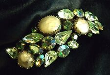 VTG Regency SIGNED Designer Rhinestone Fruit Salad Thermoset Brooch pin Green
