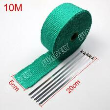 1-PCS WRAP 50MM X 10M X 2MM + 5 STAINLESS STEEL TIES 2100F GREEN EXHAUST HEAT