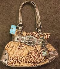 KATHY VAN ZEALAND PURSE BAG LEOPARD NWT RHINESTONES