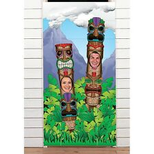 Plastic Tiki Totem Pole Photo Door Banner Luau Party Decoration