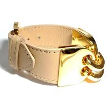"Vita Fede SALE! 24kt Gold Plated ""Kat"" Beige Leather Strap Bracelet (RRP £85)"