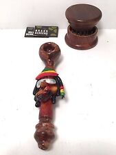 "5"" Ceramic Tobacco Smoking Pipe w/ FREE Wood Grinder + 10 Metal 5 Glass Screens"