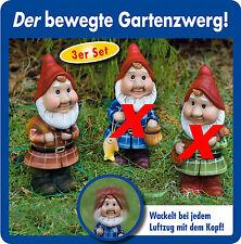 3er Set Wackelzwerge Gartenzwerge Zwerge Garten Figur Dekoration Zwerg NEU