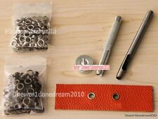 3.5MM Grommet Installation Setting Tool Kit Set + Leather Hole Punch +80 Eyelets