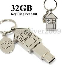 32GB Mini Metal Silver House Design USB 2.0 Flash Stick Memory Drive Storage