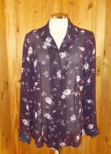 LILLI dark purple beige floral chiffon long sleeve blouse top BNWT 12 40