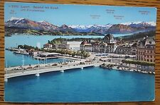 1938 LUCERNE, SWITZERLAND POSTCARD, RAILROAD STATION, HOUSE OF CONGRESS, SALE!!!