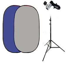 Pro 5ft x7ft Collapsible blue grey flex out Twist Muslin Backdrop stand kit