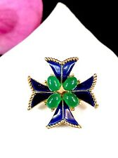 EXCEPTIONAL CROWN TRIFARI EMERALD GRIPOIX CABOCHON SAPPHIRE MALTESE CROSS BROOCH