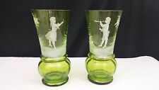 Mary Gregory Pair of Hand Painted Boy & Girl Green Glass Vases/Tumblers
